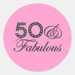50 & Fabulous Gift Round Sticker