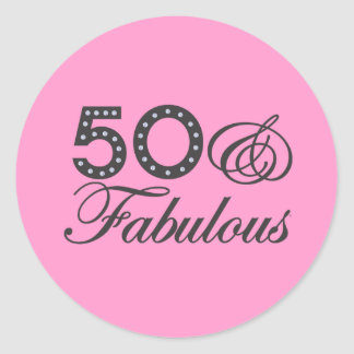 50 & Fabulous Gift Round Sticker