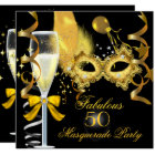 50 & Fabulous Gold Black Masquerade Party Card