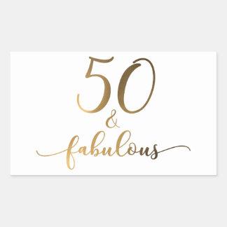 """""""50 & Fabulous"""" Gold Foil Effect v2 Birthday Cheer Sticker"""
