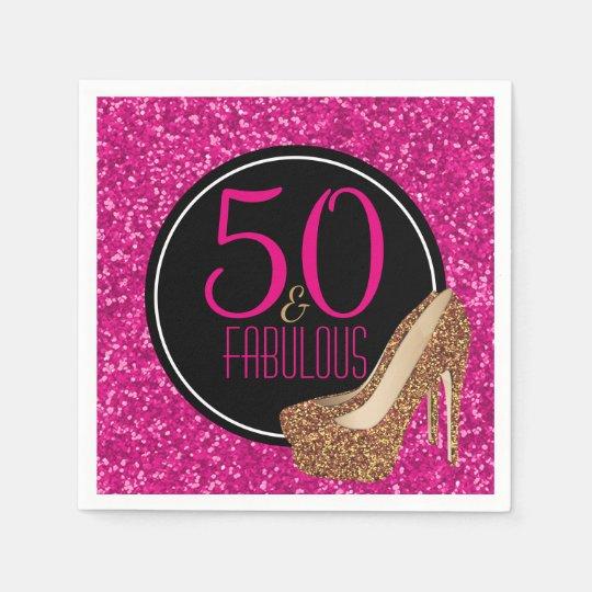 50 & Fabulous | Gold Glitter Pink 50th Birthday Napkin