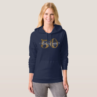 50 & Fabulous Gold Glitter Typography 4 Birthday Hoodie