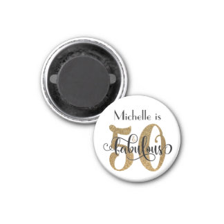 50 & Fabulous Gold Glitter Typography Birthday 1 Inch Round Magnet