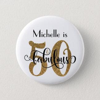 50 & Fabulous Gold Glitter Typography Birthday 2 Inch Round Button
