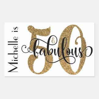 50 & Fabulous Gold Glitter Typography Birthday 3