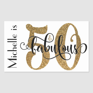 50 & Fabulous Gold Glitter Typography Birthday 3 Sticker