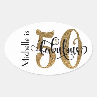 50 & Fabulous Gold Glitter Typography Birthday 3b Oval Sticker