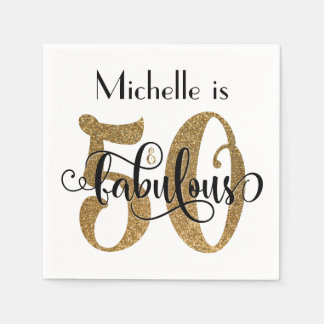 50 & Fabulous Gold Glitter Typography Birthday Paper Napkin