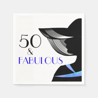 50 & Fabulous lady with blue collar and blue text Paper Napkin