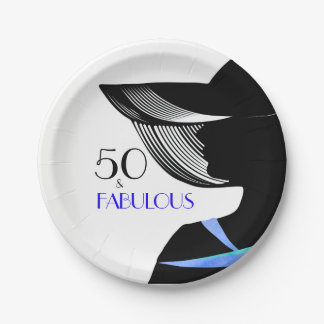 50 & Fabulous lady with blue collar and blue text Paper Plate