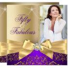 50 & Fabulous Photo Gold Purple Bow 50th Birthday Card