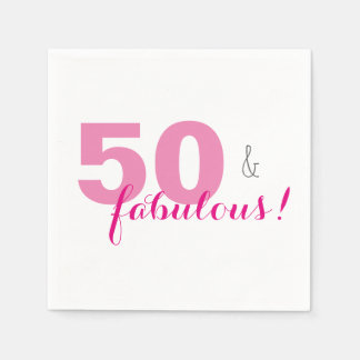 50 & Fabulous Pink Birthday Party Paper Napkins