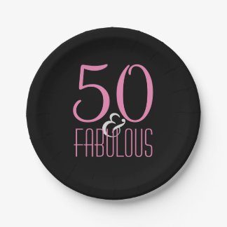 50 & Fabulous Pink Black | Elegant Birthday Party 7 Inch Paper Plate