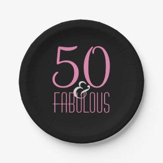 50 & Fabulous Pink Black | Elegant Birthday Party Paper Plate