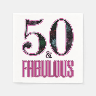 50 & Fabulous Pink Black Typography 50th Birthday Paper Napkin