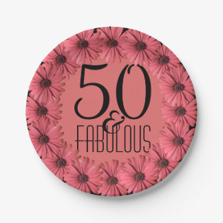 50 & Fabulous | Pink Floral Daisies 50th Birthday Paper Plate