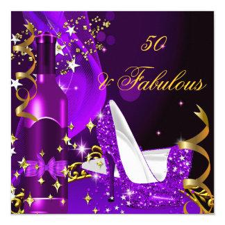 "50 & Fabulous Purple Magenta Birthday Party 5.25"" Square Invitation Card"