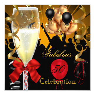 50 & Fabulous Red Gold Black Birthday Party Card