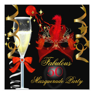 "50 & Fabulous Red Gold Black Masquerade Party 5.25"" Square Invitation Card"