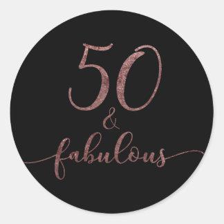 """""""50 & Fabulous"""" Rose Gold Glitter Birthday Cheer 2 Classic Round Sticker"""
