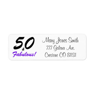 50 & Fabulous set in black and purple typography Return Address Label