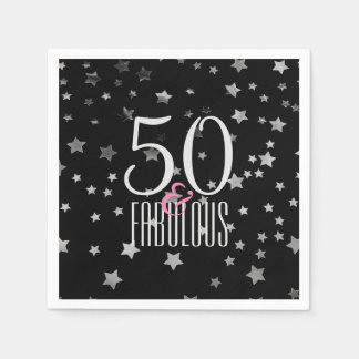 50 & Fabulous Silver Stars | Elegant 50th Birthday Paper Napkin