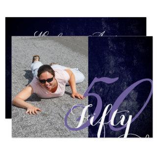 50 & Fabulous! Simple Fancy Purple White Birthday Card