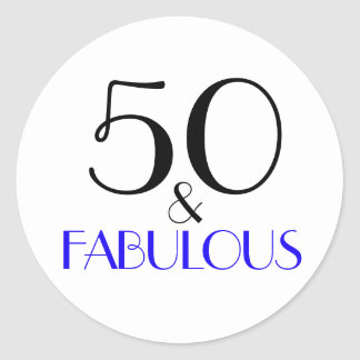 50 & Fabulous | Typography 50th Birthday Classic Round Sticker