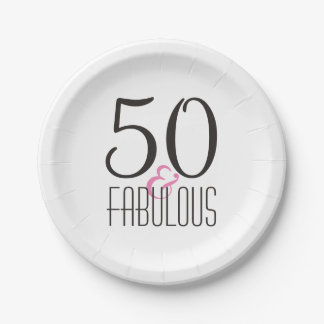 50 & Fabulous | Woman's Elegant Birthday Party Paper Plate