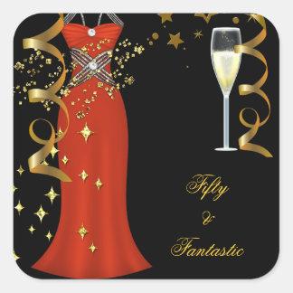 50 Fantastic Red Dress Black Gold Sticker SQ