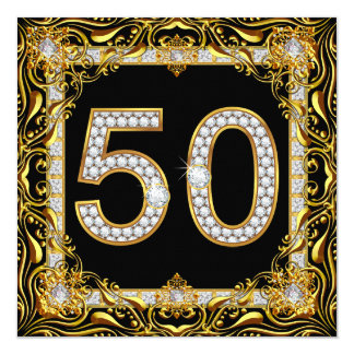 "50 Gold Diamond on Black Birthday Party 5.25"" Square Invitation Card"