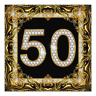 "50 Gold Diamond on Black Birthday Party 5.25"" Square Invitation Card"