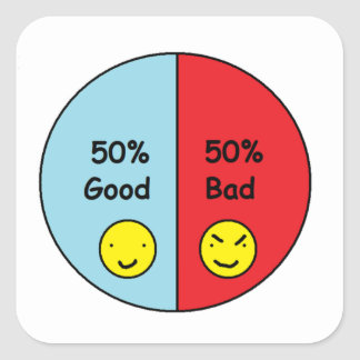 50% Good and 50% Bad Pie Chart Square Sticker