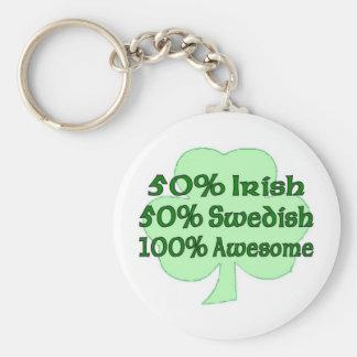 50% Irish 50% Swedish 100% Awesome Keychain
