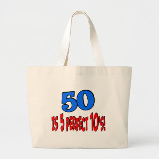 50 is 5 perfect 10s (BLUE) Jumbo Tote Bag