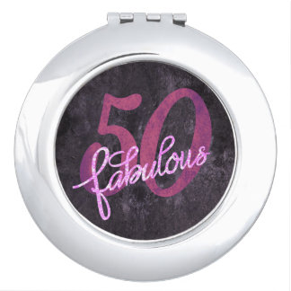 50 is FABULOUS! 50th Birthday Purple Pink Glitter Makeup Mirror