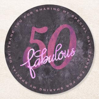 50 is FABULOUS! 50th Birthday Purple Pink Glitter Round Paper Coaster