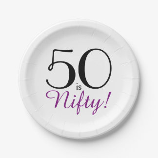 50 is Nifty! 50th Birthday Party Paper Plate 7 Inch Paper Plate