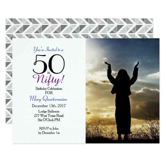 50 is Nifty! 50th Birthday Party Photo Invitation