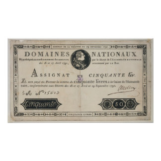 50 livres bank note, 29th October 1790 Poster