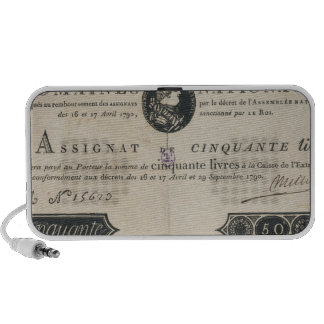 50 livres bank note, 29th October 1790 iPhone Speakers