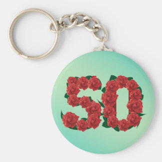 50 number 50th birthday wedding anniversary roses keychain