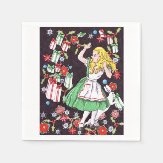 "50 paper napkins with ""Alice in Holiday Hell"""