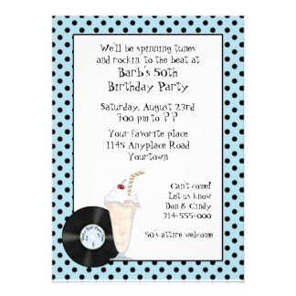 50 s Rock and Roll Birthday Invitation