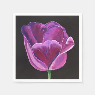50 Standard Cocktail Napkins with Midnight Tulip Disposable Napkins