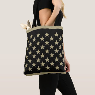 50 Stars Retro Neutral Chalky Stars on Black Tote Bag