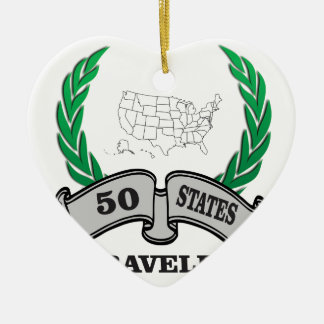 50 states traveled ceramic heart ornament
