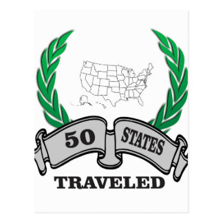 50 states traveled postcard
