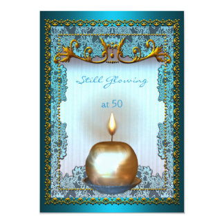 50 Still Glowing Birthday Teal Gold Candle Glow Card
