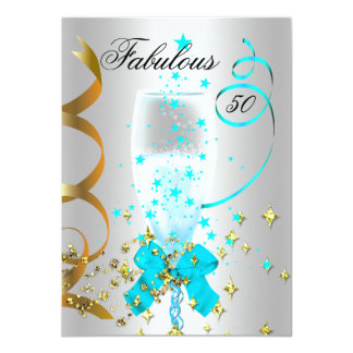 50 Teal Silver Gold Birthday Party Card